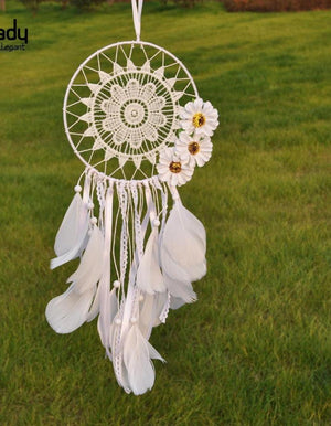 Bohemian Dream Catcher Handmade Traditional White Feather
