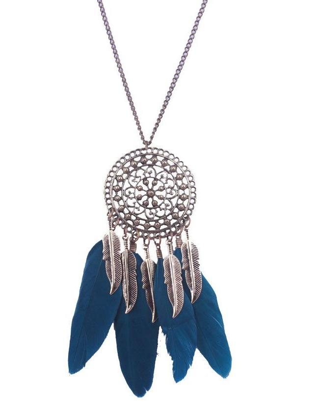 Bohemian ethnic round leaves hollow feather necklace