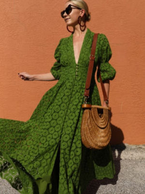 Autumn Sexy Women Deep V Neck Ruffles Boho Maxi Club Green Dress