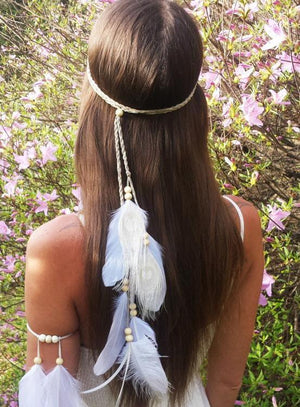 Bohemian Feathers Gypsy Hippie Peacock Hair Accessories