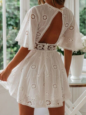 Sexy White Cotton Crochet Hollow Out Embroidery Mini Dress