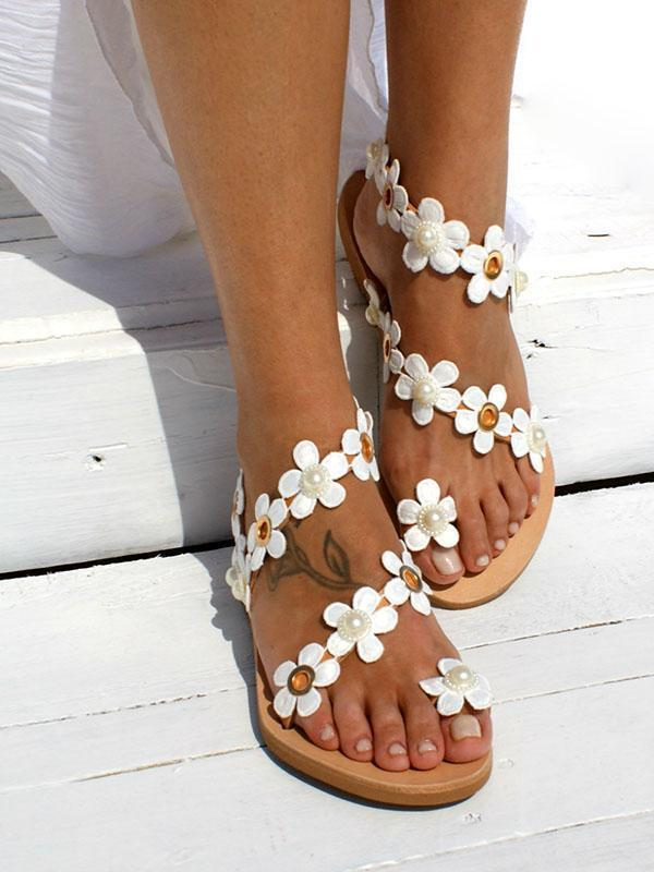 White flower holiday bohemain  Flat Heel Sandals