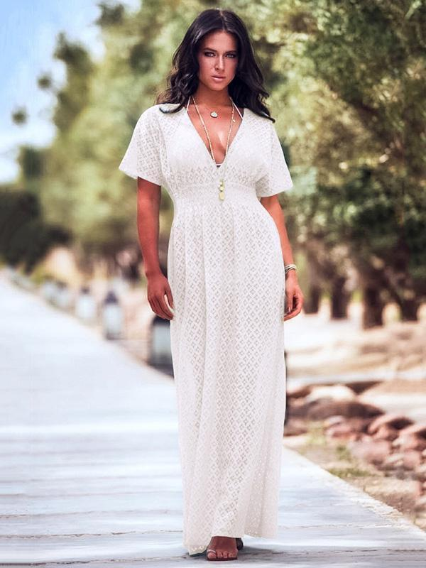 Deep V Neck Lace Waisted Boho Maxi Dresses