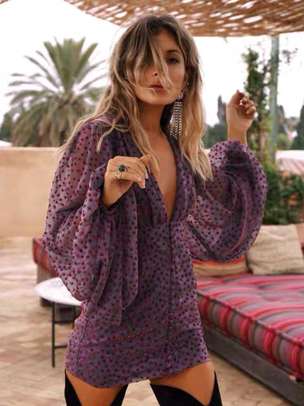 Sexy Deep V Puff Long Sleeve Purple Polka Dot Chiffon Mini Dresses