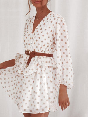 Elegant Polka Dot See Through Chiffon Vintage Dresses