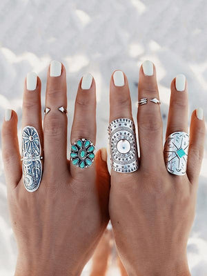 Vintage 4PCS Turquoise Carving Boho Rings Accessories