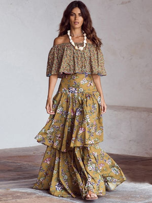 Bohemian Slash Neck Floral Print Cloak Sleeve Cascading Ruffle Dress