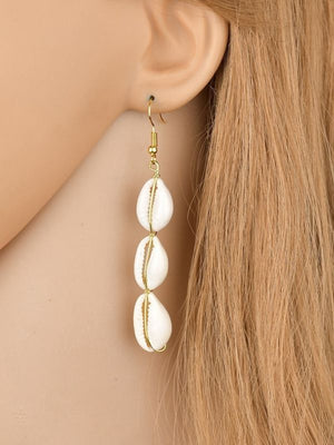 Bohemian long conch shell earrings