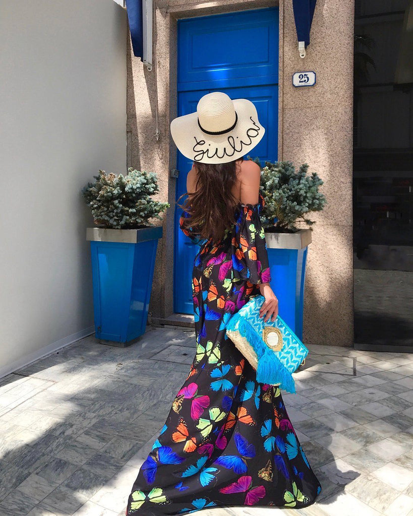 Butterfly Print Maxi Floral Beach Off Shoulder Jumpsuit