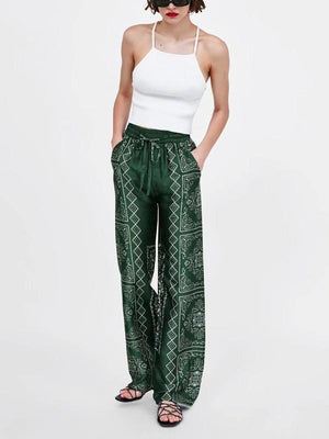 Loose Waist Wide Leg Printing Casual Boho Pants