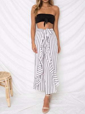 Stripe Ruffle Sash Beach Casual Chiffon Pants