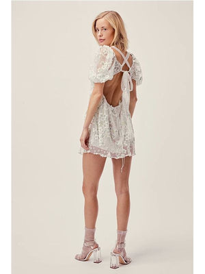3D Embroidery A Line Short Sleeve Slim Hollow Out Dress