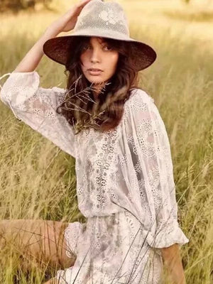 Long Sleeve White Embroidery Lace Backless  Mini Dress