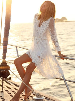 LACE EMBROIDERED SEE-THROUGH MIDI White DRESS