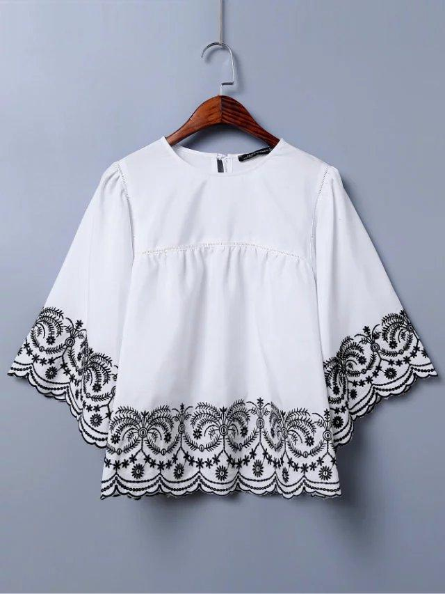 Embroidery Hem Fashion O neck shirt Blouse
