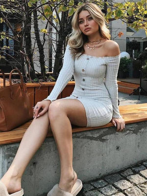 Off Shoulder Long Sleeve Sexy Mini Dress