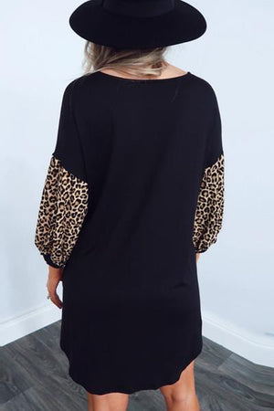 Lepard Print Black Mini Dress