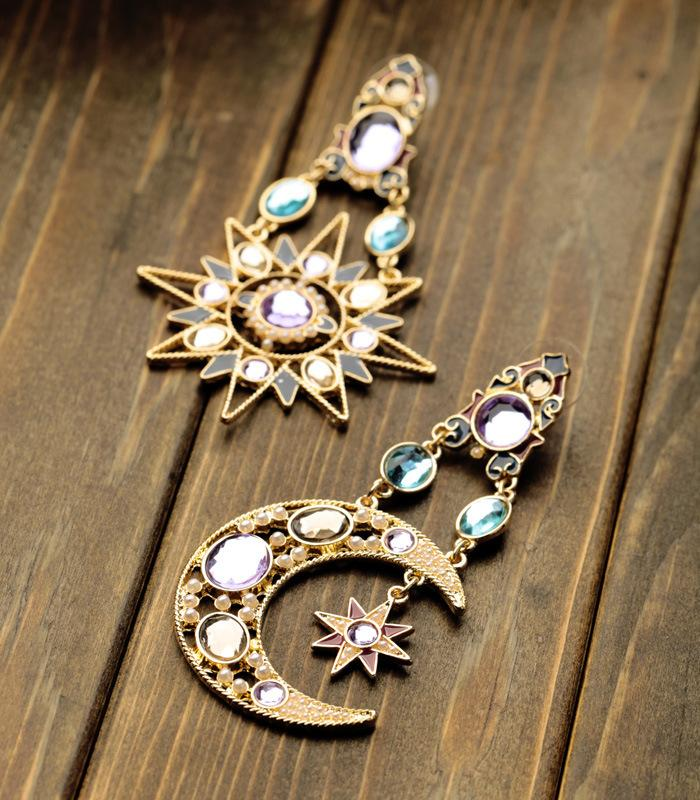 Boho Earrings Crystal Pendant Sun Moon Star Jewelry