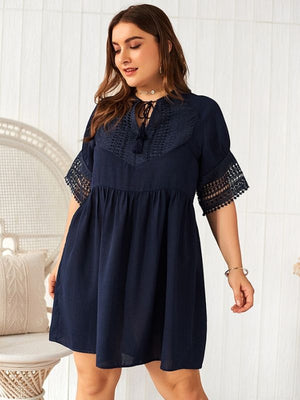 Summer A-Line Pleated Short Sleeve Patchwork Bow Lacing Dress XL-4XL