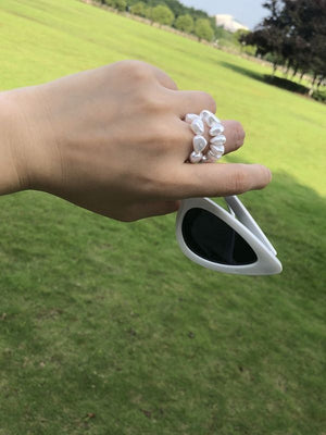Temperament shaped pearl stretch ring