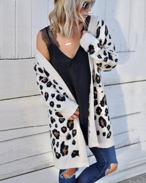 Fashion tri-color Leopard Sweater Knit Cardigan