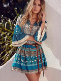 Bohemian Print Vintage Loose Mini Dress