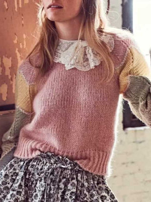 Color-Blocked Knitted Long Sleeve Sweaters Pullovers