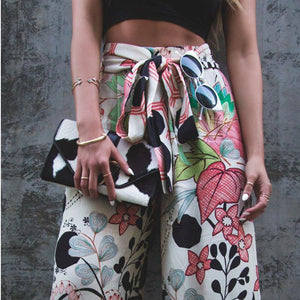 Fashionable printed wide-leg trousers
