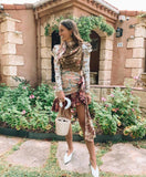 Contrast Color Stitching Waist Long Sleeve Print Dress