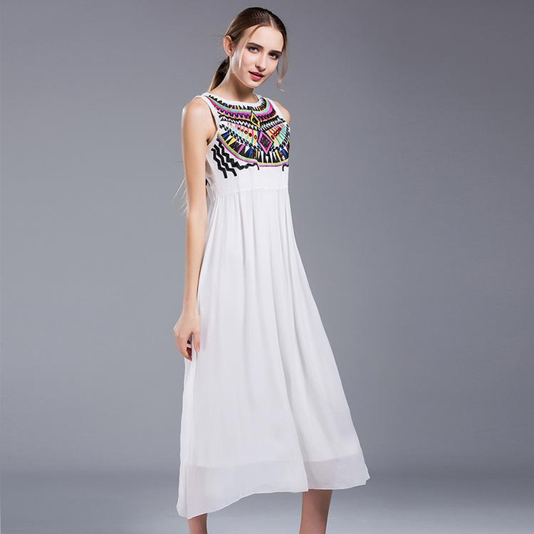 Embroidered Holiday Wave Long Dress