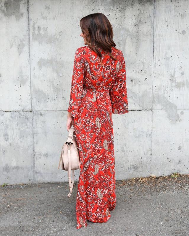Chiffon Sexy V Neck Long Sleeve Maxi Dress