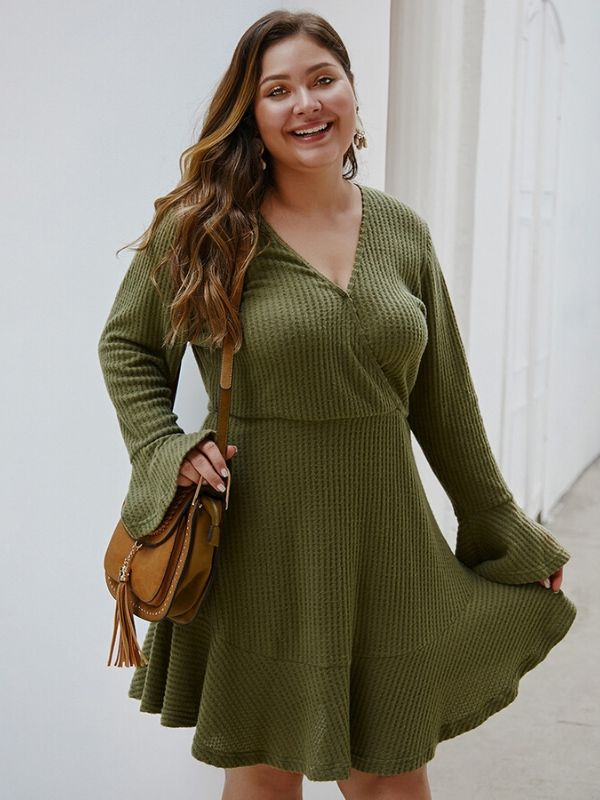 Autumn Knitted Sweater Long Sleeve Dresses  XL-4XL
