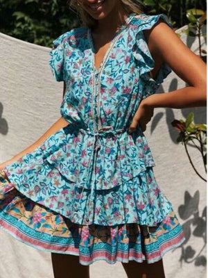 Floral Printed Mini Sleeve Short Sleeve V Neck Vintage Mini Dresses