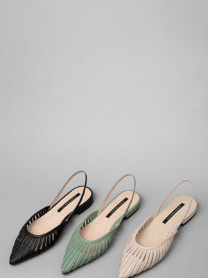 Pointed geometric hollowed out flat wear Mules shoes