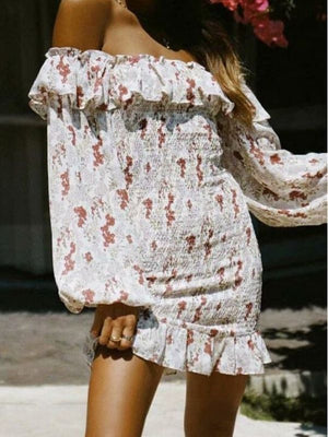 Slash Shoulder Floral Ruffles Bohemian Backless Beach Casual Dress