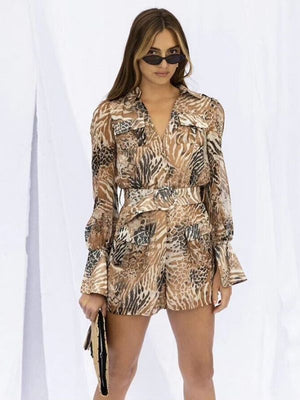 Print Turn-down Collar Puff Long Sleeve Pocket wth Sashes Rompers