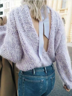 Loose Halter Sexy Pullover Knitted Button Sweater