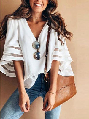 V Neck Splice Loose Solid Color T Shirt Tops