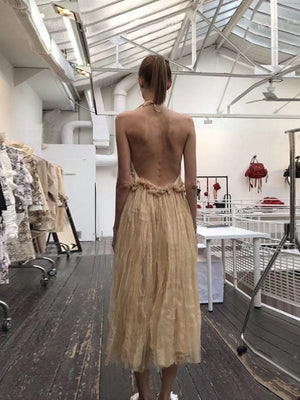 Solid Color Hanging Neck Big Back Waist Hanging Bandwidth Pine Dress