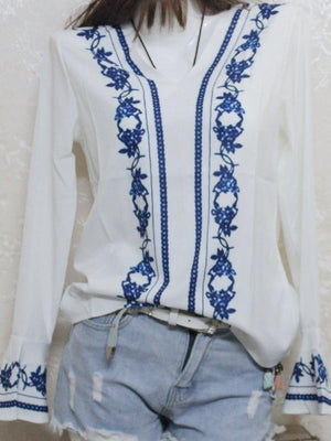 V-neck  Long sleeve Blue and white printing Boho Blouses