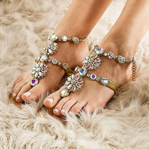 Artificial Gemstones Shining Boho Boho Sandals-4color