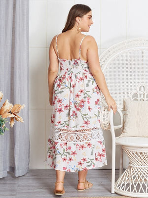 Lace Hollow Out Flower Printed Deep V-Neck Sexy Backless Dresses XL-4XL