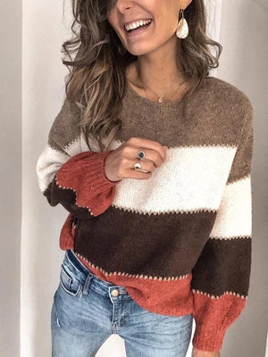 Striped Contrast Knit Sweater Pullover-3color