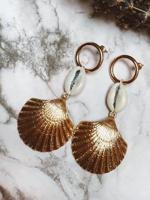 Fashion simple temperament shell alloy texture scallop earrings