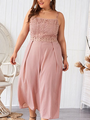 Summer Sleeveless Camisole Lace Ladies Solid Color Wide Leg Long Jumpsuit XL-4XL