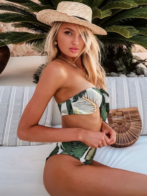 Green printed strapless two-piece bikini