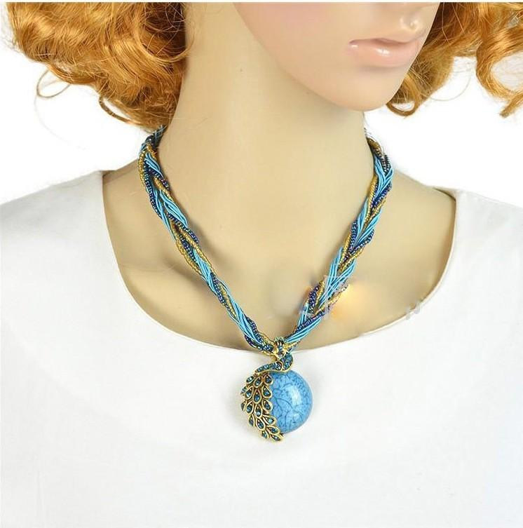 Bohemian Chic Ethnic Style Sweater Chain Peacock Pendant