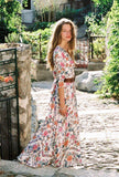Bohemian Long Floral Print Lace-wrapped Sleeveless Holiday Dress