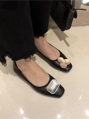 Mickey head soft leather cowhide flats