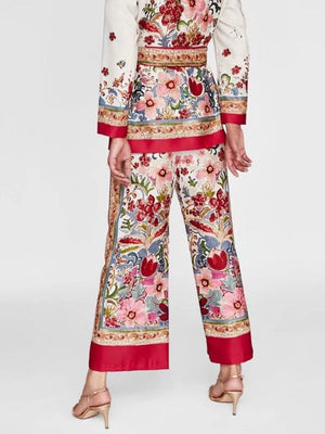Summer Woman Floral Print Red Wide Leg Pants